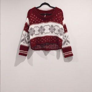 free people fair isle holiday chunky sweater